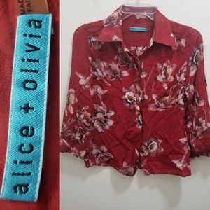 ALICE + OLIVIA Red Floral Silk Button Up Shirt